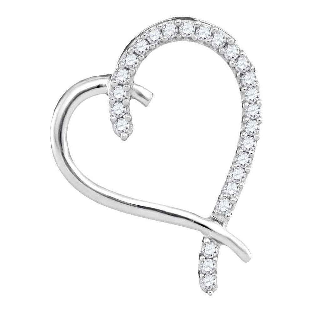 10kt White gold Womens Round Diamond Segmented Heart Outline Pendant 1 6 Cttw