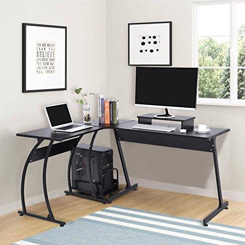 L-Shape Corner Computer Desk, Large PC Table Laptop Workstation with Mobile Computer Stand and Computer Host Bracket