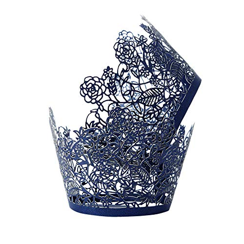 Laser Cut Cupcake Holders - Cupcake Wrappers 100pcs Navy Blue Lace Rose Bake Cake Paper liner Cups for Wedding Party Birthday Cake Decoration Supplies