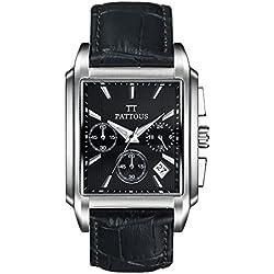 PATTOUS Luxury Men's Leahter Retangle White Dial SII Time Module Sports Chronograph Watches