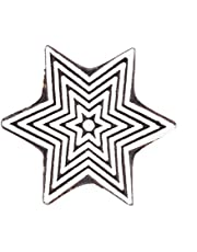 GroupB Wooden Printing Blocks – Hand Carved Wood Stamp Made from Wood with Star Design for Fabric Printing, Clay Pottery, Crafts, Scrapbook Print and More – Design5