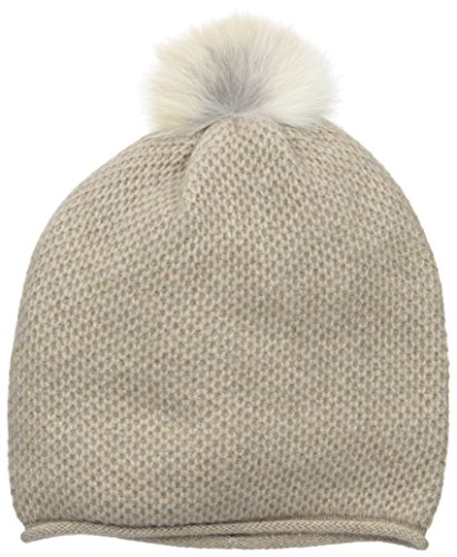 Sofia Cashmere Women's 100% Cashmere Honeycomb Hat with Coyote Fur Pom, Dark Natural, One by Sofia Cashmere