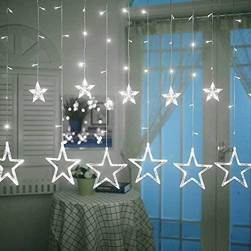 LHSUNTA Luz de Cortina Stars, 12 Estrellas 138 LED Star Star Window Lights con 8 Modos de iluminación Funciona con Pilas para la Fiesta de Bodas de Navidad Home Bedroom (Purple)