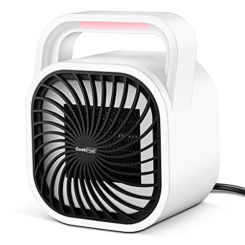 GEEK HEAT Mini Portable Heater,Small Space Heater for Office,  Portable Electric Ceramic Heater,500W for Energy Efficient Heat,Table Top Heater with Tip-Over Protection