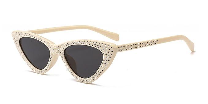 XFentech Mode Unisex Femmes UV400 Classique Rectangulaire Lunettes de soleil Lunettes, Or(Cadre)-Blanc(Lentille)