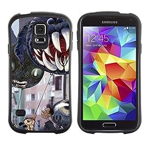 """Hypernova Slim Fit Dual Barniz Protector Caso Case Funda Para Samsung Galaxy S5 [Mandíbulas de Halloween dientes de los niños""""]"""