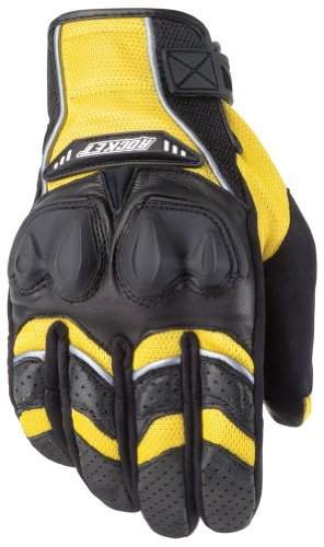 Joe Rocket Phoenix 4.0 Men's Leather Road Race Motorcycle Gloves - Yellow/Black/Silver/Medium
