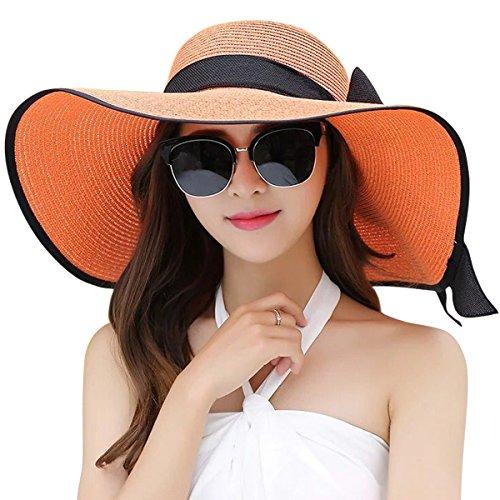 Lanzom Womens Big Bowknot Straw Hat Foldable Roll up Sun Hat Beach Cap UPF 50+ (Orange)