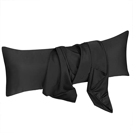 Amazon Com Uxcell Body Pillow Cover 20x48 Inch Black Silky Satin