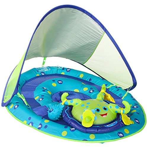 SwimWays Baby Spring Float Activity Center with Canopy - Inflatable Float for Children with Interactive Toys and UPF Sun Protection - Blue/Green -