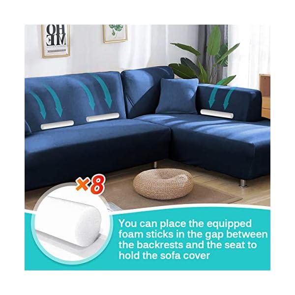 CAVEEN Housse de Canapé d'angle Extensible, Couverture de Canapé en Forme de L avec 2 Taies d'oreiller, Revêtement de Canapé en Tissu élastique (3 Places + 3 Places, Bleu Marin)