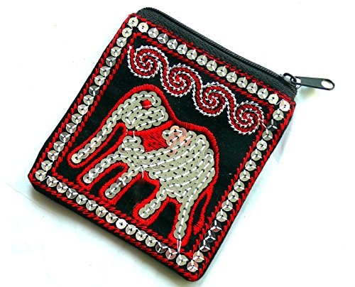 purse Red elephant cotton coin sequin Black Black amp; amp; Zx86ng
