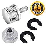 Seat Bolt Screw Nut Kit Chrome for Harley Davidson 1996-2016 Fender Quick Mount Polished Billet Aluminum Knurled Sides 1/4