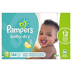 Pampers Baby-Dry Disposable Diapers Size 3, 144 Count, GIANT