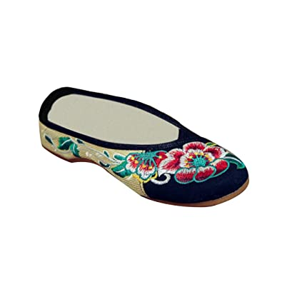 Fleur Femmes Yefree Confort Pantoufles Brodées Motif Chaussures W9IDeEH2Yb