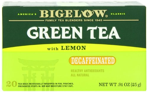 Bigelow Decaffeinated Green Tea with Lemon, 20-Count Boxes (Pack of 6)