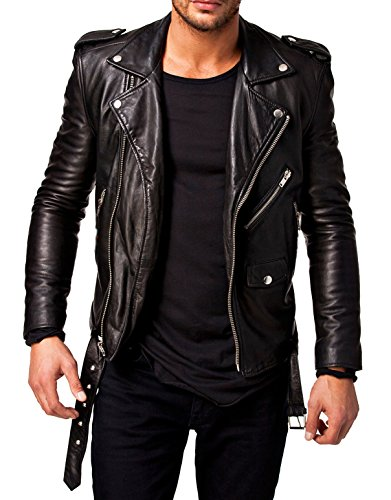 (Mens Leather Jackets Motorcycle Bomber Biker Genuine Lambskin 58 L Black)
