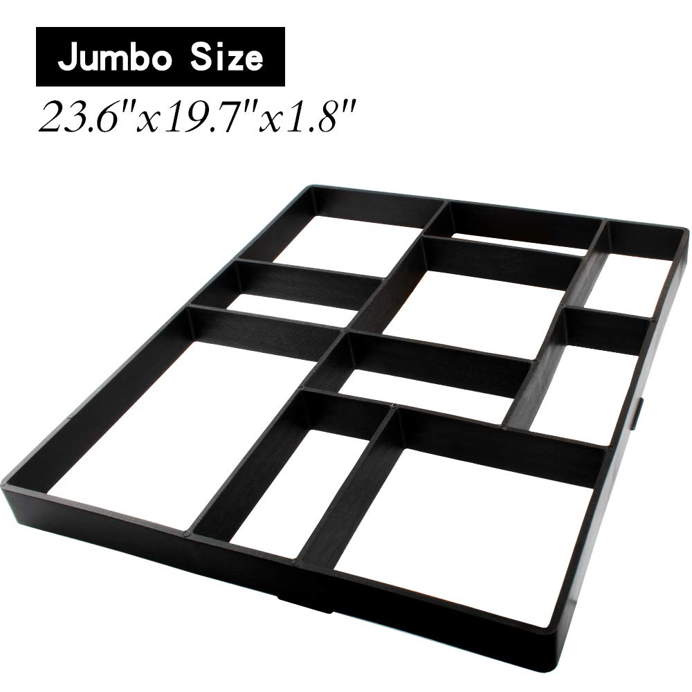 Jumbo Size Walk Maker Reusable Concrete Path Maker Molds Stepping Stone Paver Lawn Patio Yard Garden DIY Walkway Pavement Paving Moulds (10-Grid) (23.6''x19.7''x1.8'')