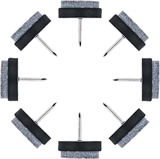 uxcell 22mm Dia Nail-on Anti-Sliding Felt Pad 24pcs for Wooden Furniture Chair Table Leg Feet
