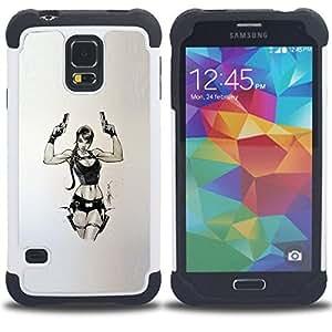 - tomb character pc game chick guns/ H??brido 3in1 Deluxe Impreso duro Soft Alto Impacto caja de la armadura Defender - SHIMIN CAO - For Samsung Galaxy S5 I9600 G9009 G9008V