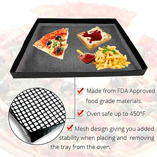 1Pcs Black Teflon Baking Tray - Non-stick Baking Mat - Oven Basket Baking Sheet Oven Chip Basket - Bakeware Tools-Baking & Pastry Tools -For housewives, who love to cook
