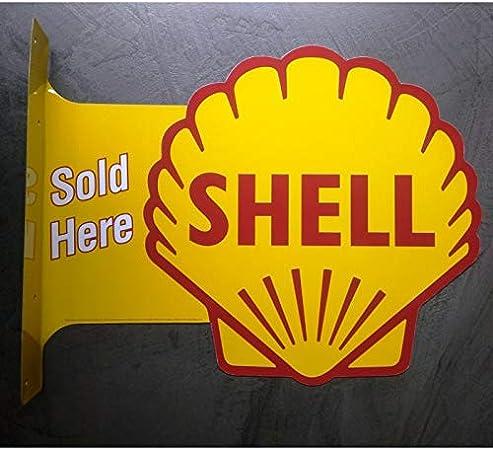 hotrodspirit Plaque Shell 2 Faces Potence tole Huile Essence Deco Garage 44x33 cm