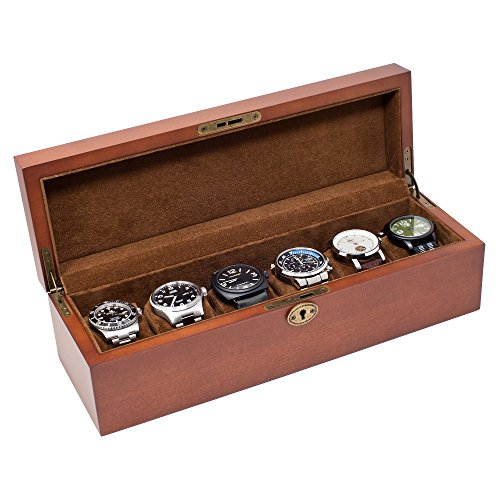 Watch 5 Vintage (Caddy Bay Collection Vintage Wood Solid Top Watch Box Case Holds 6 Large Watches - Adjustable Soft Pillows - High Clearance)