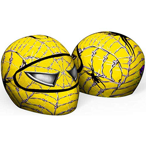 SkullSkins Spider-Man Wired Web Yellow Universal Full Face Motorcycle Helmet Cover Skin