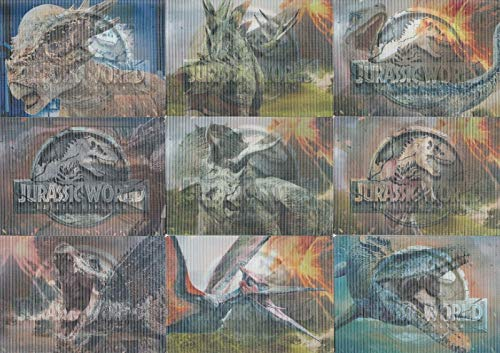 JURASSIC WORLD FALLEN KINGDOM 2018 3D ACTION DINO INSERT CHASE CARD SET 1 TO 9 OF 9