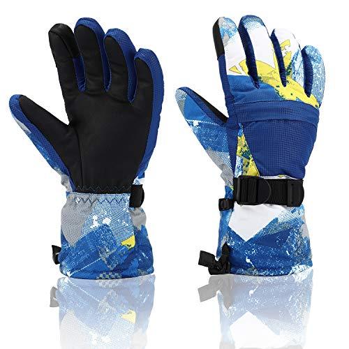 - Ski Gloves, Yidomto Waterproof Warmest Winter Snow Gloves for Mens, Womens, Boys, Girls, Kids (Blue-M)