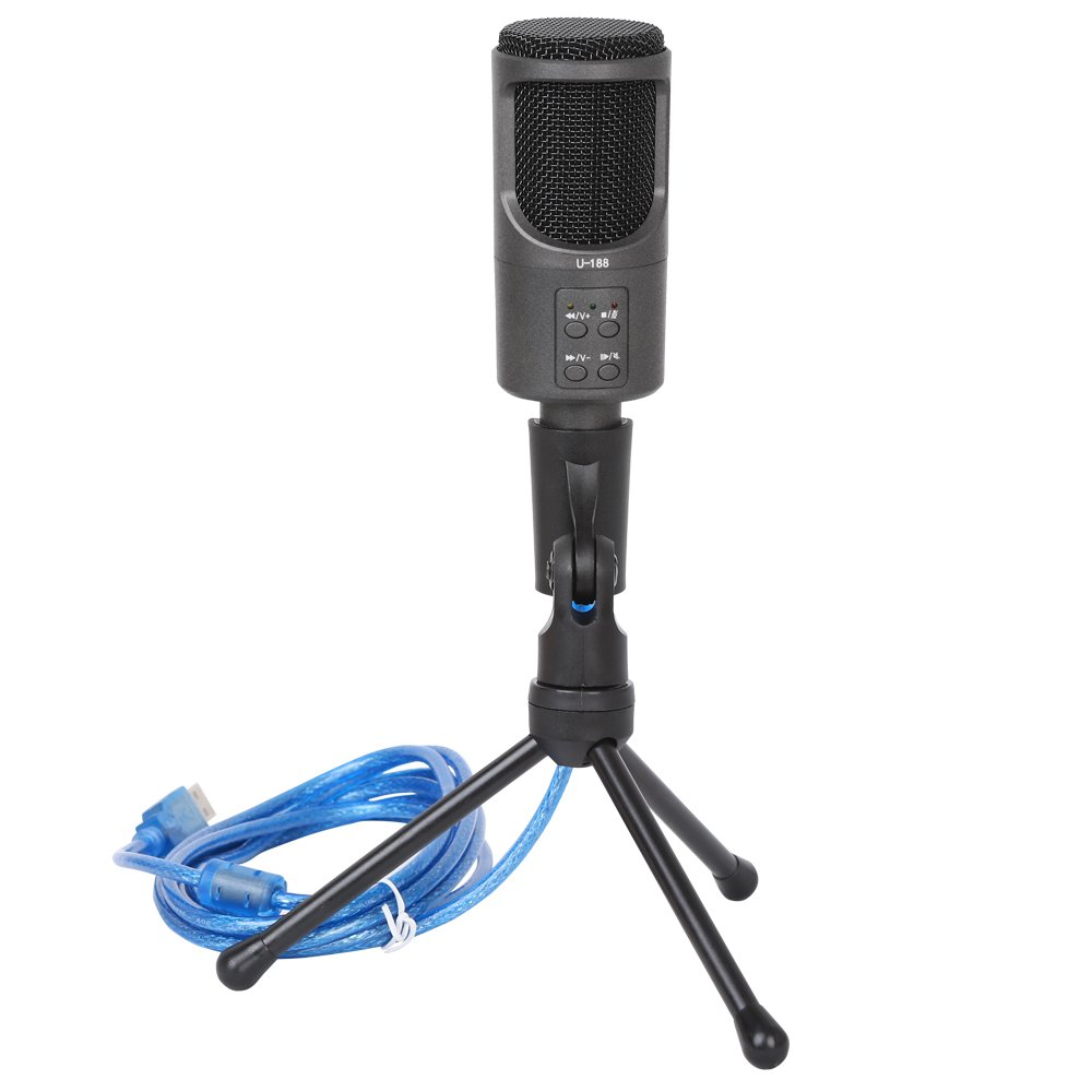 Professional Condenser Sound Studio USB Microphone Recording mic studio microphone Plug & Play Condenser Microphone For Desktop/PC/Computer(Windows Mac Linux OX) Facebook Podcasting Youtube Recording
