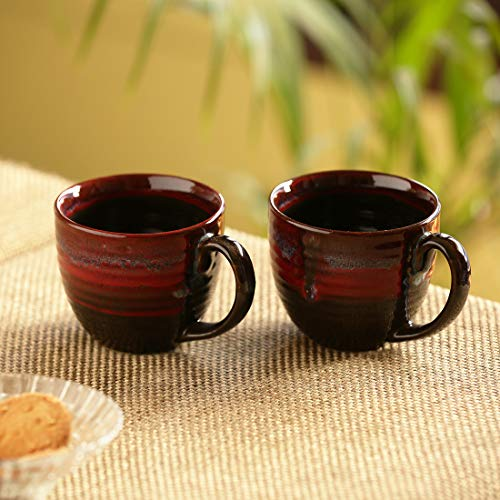 ExclusiveLane 'Crimson Lava Dome' Hand Glazed Studio Pottery Ceramic Coffee & Tea Mugs (Set Of 2) - Cups tea cups set of 2 tea mugs dinnerware coffee mugs glasses mugs coffe k cups cups coffee cups (Lava Dome)