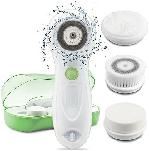 TOUCHBeauty Facial Cleansing & Exfoliator Brush Set with Travel Case, 3 Spin Cleansing Brush Head for Oil/Sensitive/Combination Skin | Waterproof, Dual Speed, Battery Powered TB-0759A