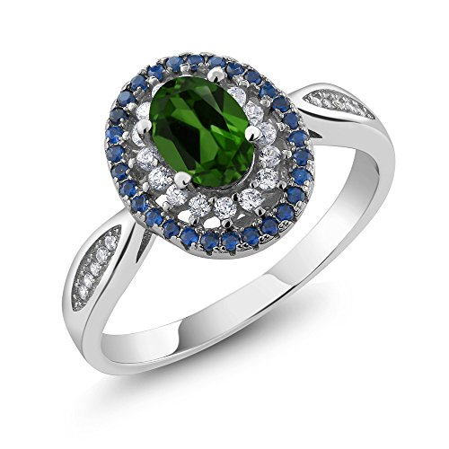 Gem Stone King 1.40 Ct Oval Green Chrome Diopside 925 Sterling Silver Women's Ring (Available 5,6,7,8,9) (Size 9)