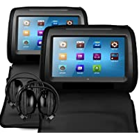 Sonic Audio HR-9 - 2 x 9 Universal Black Leather-Style Car DVD/Multimedia Headrests with 2 x IR Infrared Headphones