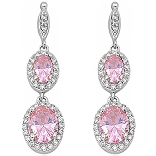 Halo Drop Dangle Chandelier Earring Oval Simulated Pink Topaz Round Cubic Zirconia 925 Sterling Silver (Earring Topaz Dangling Pink)