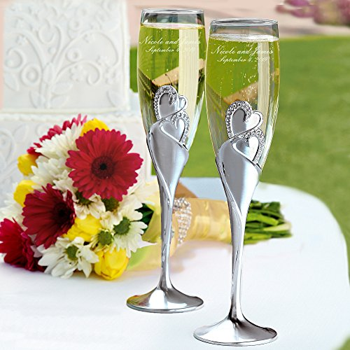 Personalized Wedding Toasting Flutes - Sparkling Love Design - Custom Engraved Champagne Flutes for Bride and Groom, Set of 2