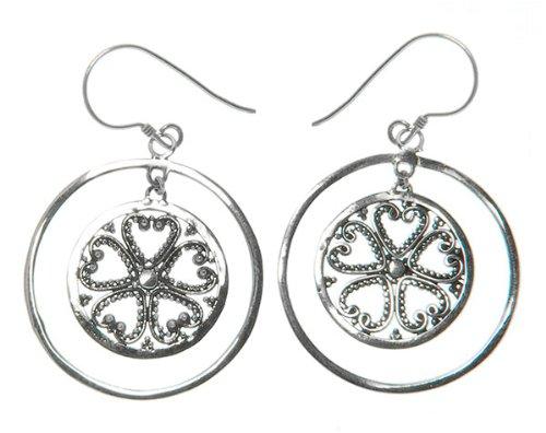 145 Five Leaf Sacred Heart Earrings Organic / Silver Jewelry of Bali