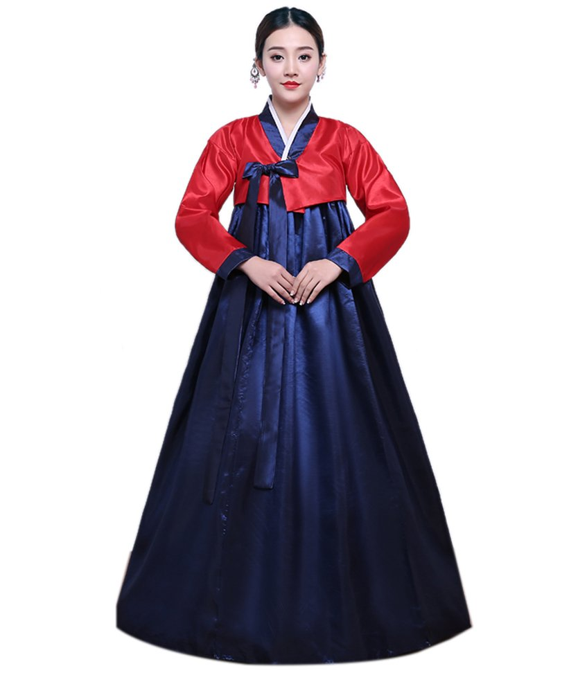 Lemail Womens Korean Hanbok Dress Long Sleeve Korean Traditional Costume Red&navy blue L