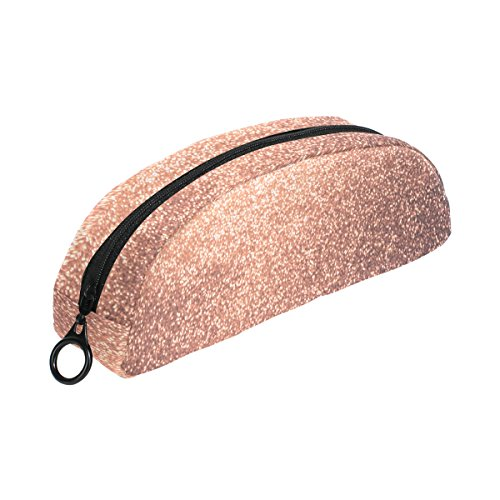 ALAZA Hipster Rose Gold Glitter Pencil Case Stationery Pouch Bag Small Cosmetic Makeup Zipper Bag
