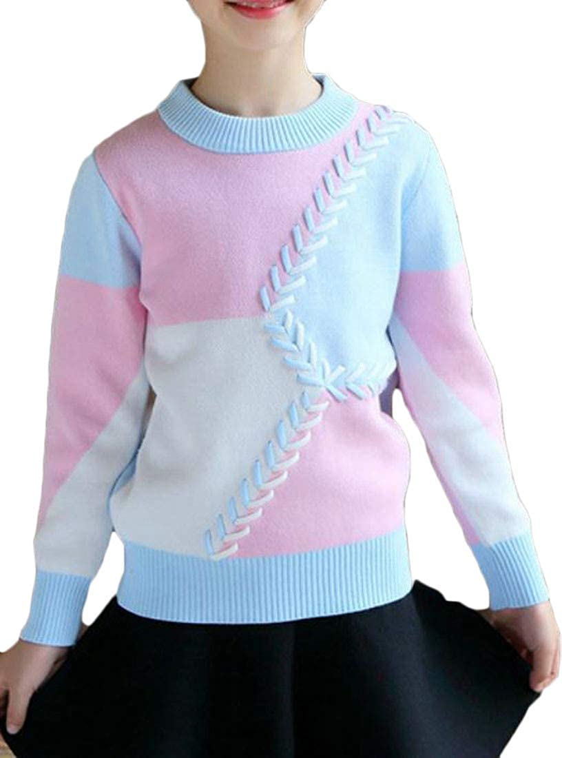 JSY Girls Contrast Color Crew Neck Fall Winter Knitted Sweater Pullover