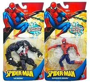 2009-2010 Classic Spider-Man (wall sticking web) and Venom (Scorpion stinger) 2 figure pair set