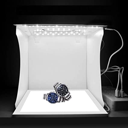 HWZDQLK Portable Mini Photo Studio Kit Shadowless LED White Background LED Lighted Panel with 6 Backgrounds for Photographing Small Products