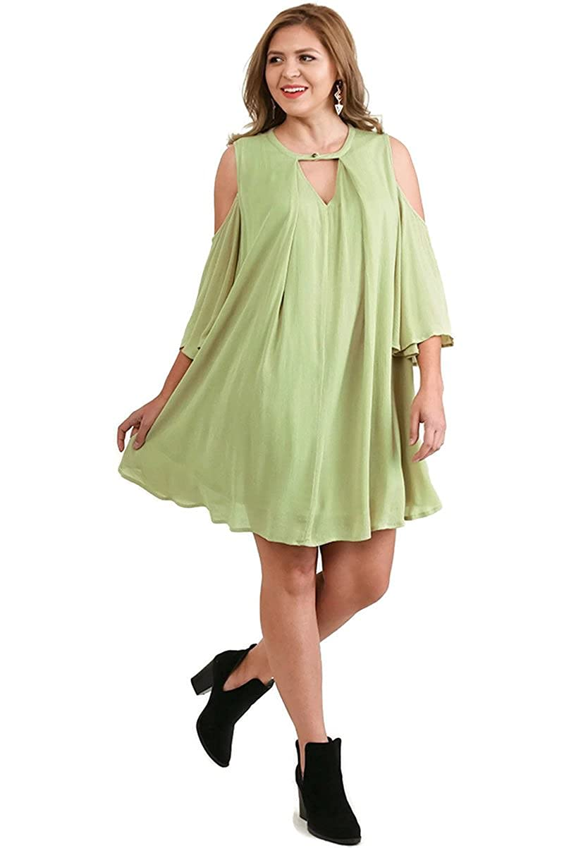 0886b9984ea Umgee Keyhole Cold Shoulder Ruffle Bell Sleeve Dress Plus Size (XL ...