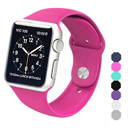 Apple Watch Band, Soft Silicone Sports Replacement Wristband for Apple Watch (Barbie pink, 38mm-S/M)