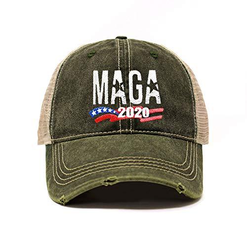 ChoKoLids MAGA Hat Make America Great Again Baseball Trucker Hat (Unisex) | Trump Rally Campaign (MAGA Distressed TC102 Army Green x1)