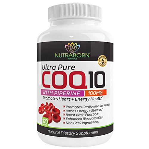 Pure CoQ10, Heart-Guard Q10 Formula Provides The Highest Level of Cardiovascular Protection & Cellular Energy + Max Absorption Piperine: Purest Form of Black Pepper Extract, 100mg, 120 Veggie Caps For Sale