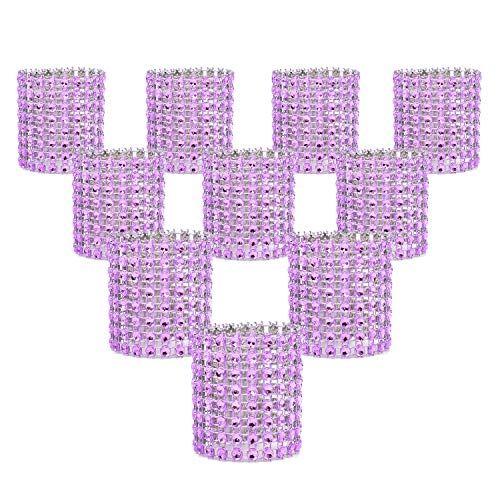 KEIVA Napkin Rings, Pack of 120 Rhinestone Napkin Rings Diamond Adornment for Place Settings, Wedding Receptions, Dinner or Holiday Parties, Family Gatherings (120, Purple)