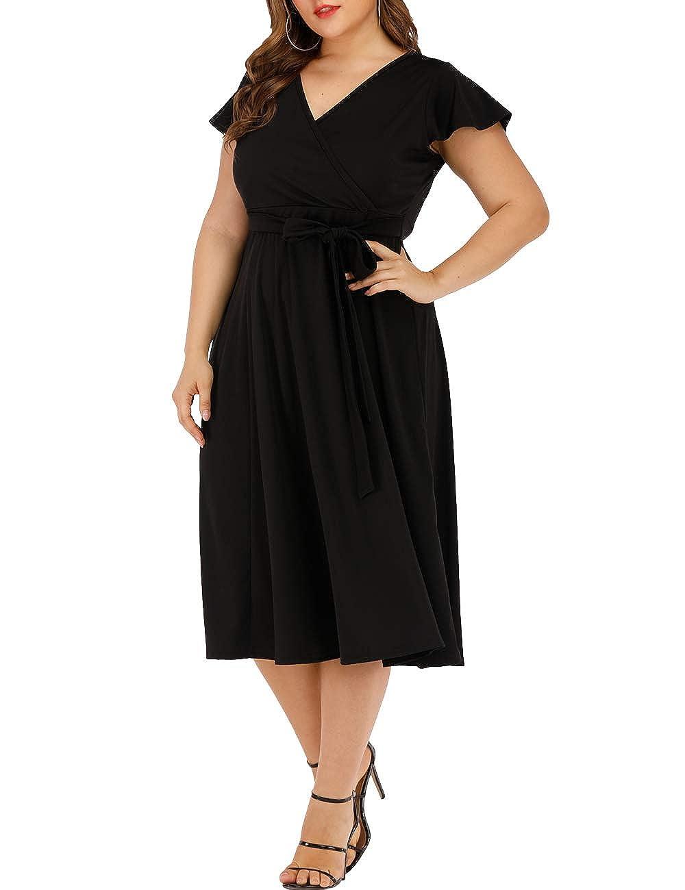 Agmibrelr Women\'s Short Sleeve Dress Deep V Neck A-Line Swing Plus Size  Midi Dresses
