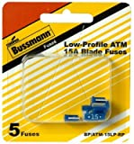 5 Pack Bussmann BP/ATM-15LP-RP Blue ATM Low-Profile 15 Amp Fast-Acting Automotive Mini Blade Fuses - 5 per Card
